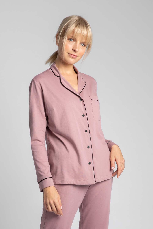 Image of Bawełniana koszula od piżamy z wypustkami - wrzosowa