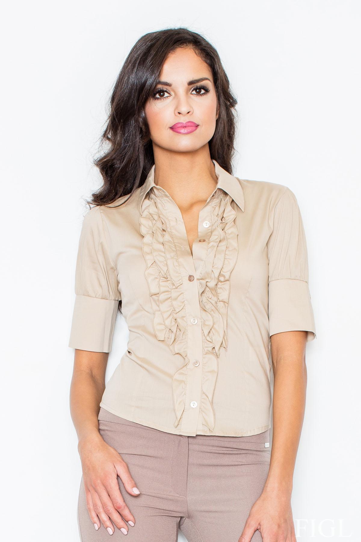 Image of Beżowa elegancka koszula z falbankami