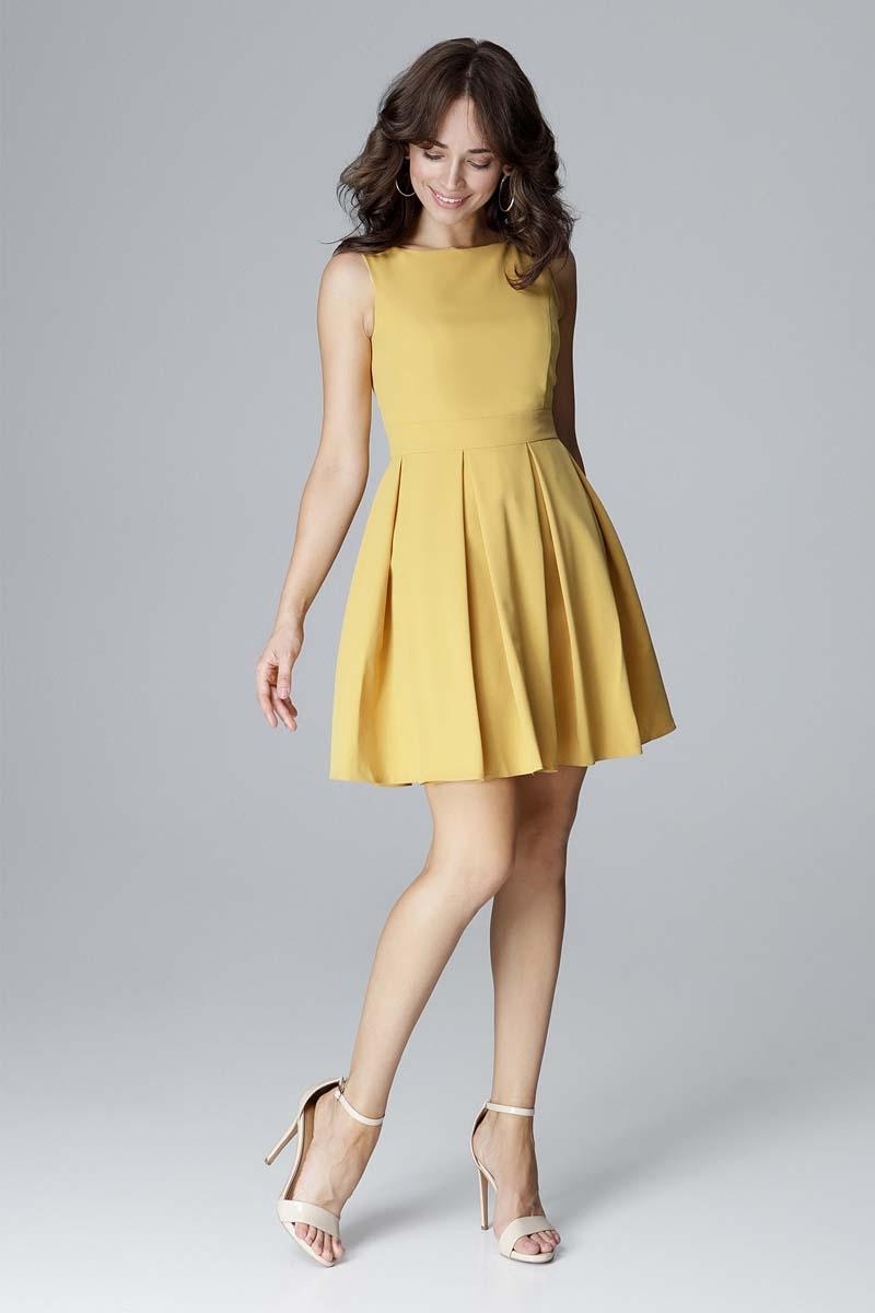 Żółta koktajlowa sukienka bez rękawów z dołem w kontrafałdy