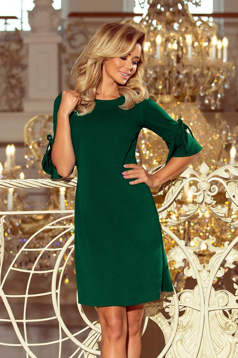 Zielona trapezowa sukienka z rozkloszowanym rękawem do łokcia