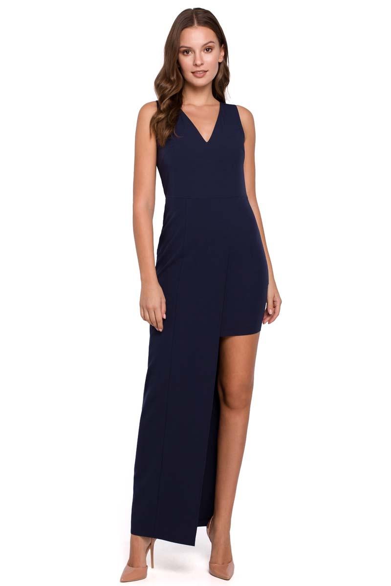 Granatowa asymetryczna długa sukienka wieczorowa