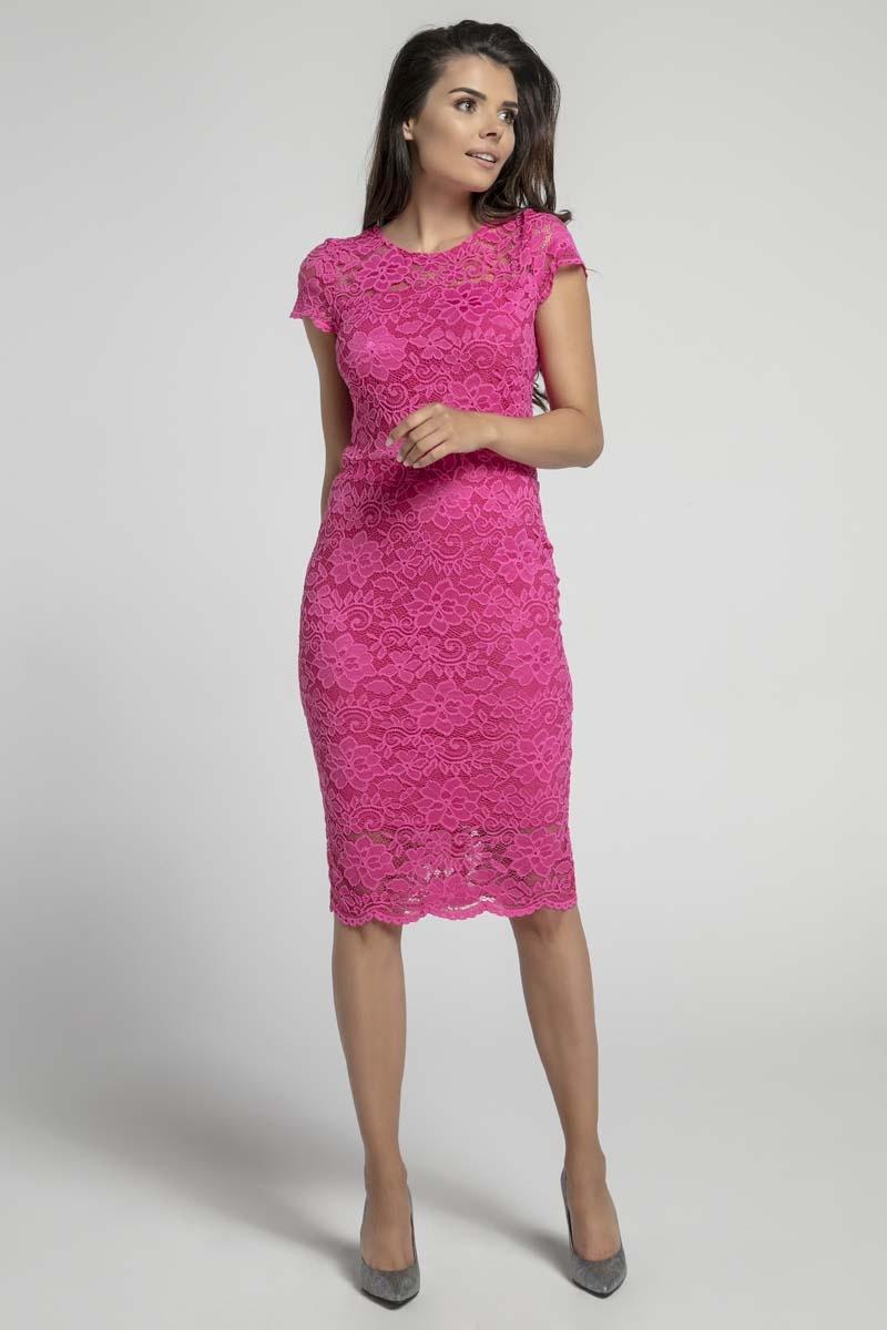 Różowa koronkowa ołówkowa sukienka midi z dekoltem v na plecach