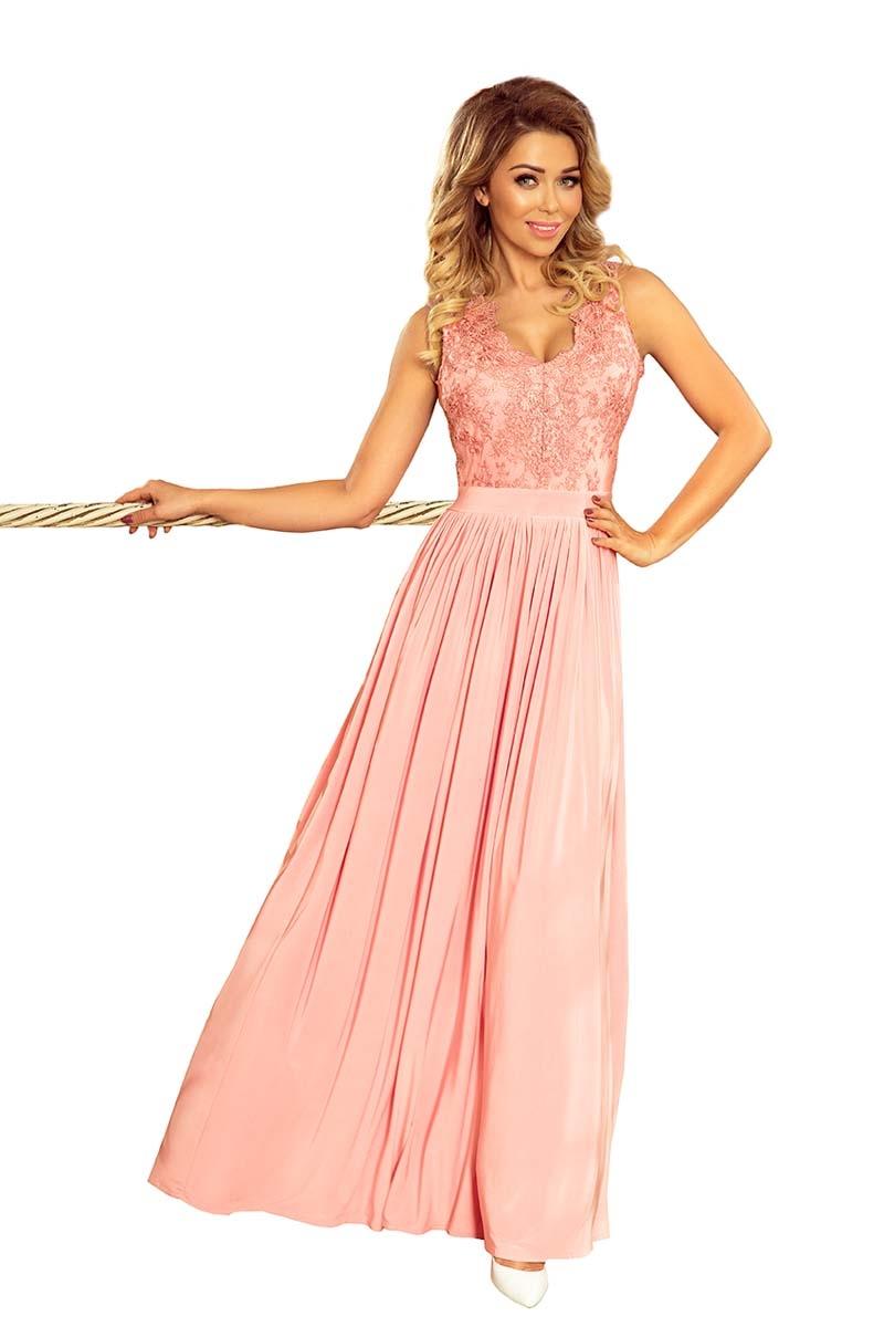 Różowa długa wieczorowa sukienka z koronką