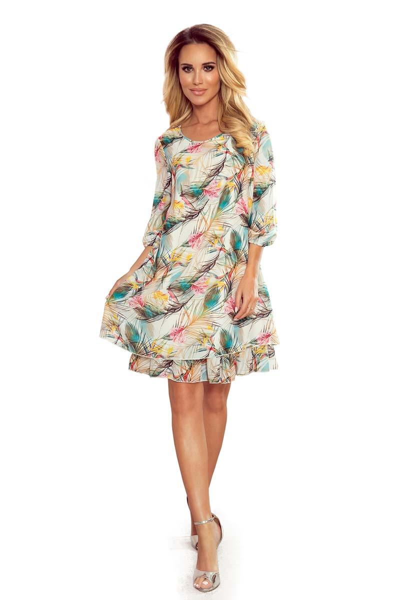 Szyfonowa sukienka trapezowa w pastelowe piórka