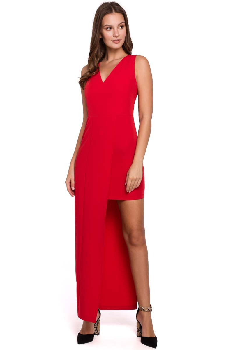 Czerwona asymetryczna długa sukienka wieczorowa