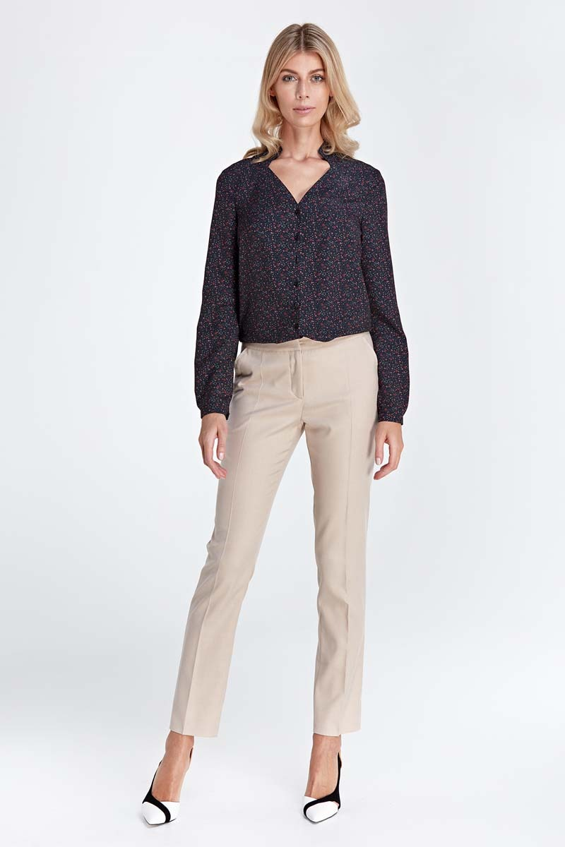 Image of Beżowe klasyczne długie spodnie w kant
