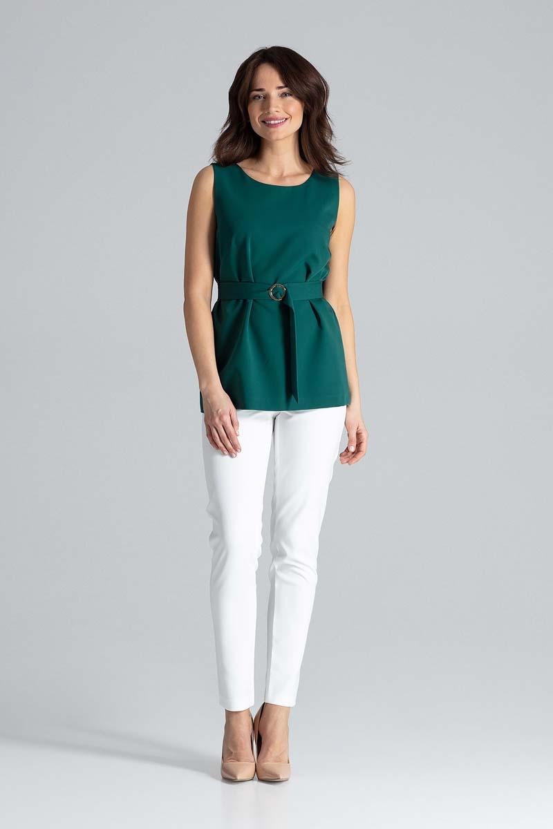 Image of Zielona bluzka trapezowa z paskiem