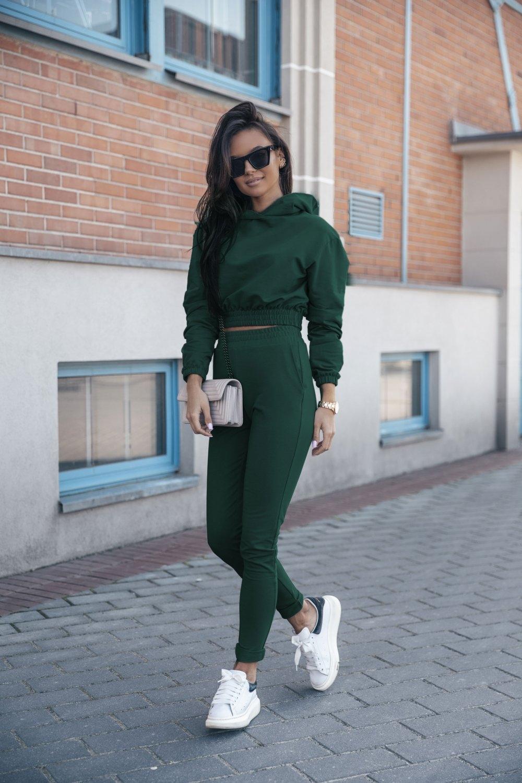 wygodny dres krótka bluza z kapturem i w? skie spodnie - zielony