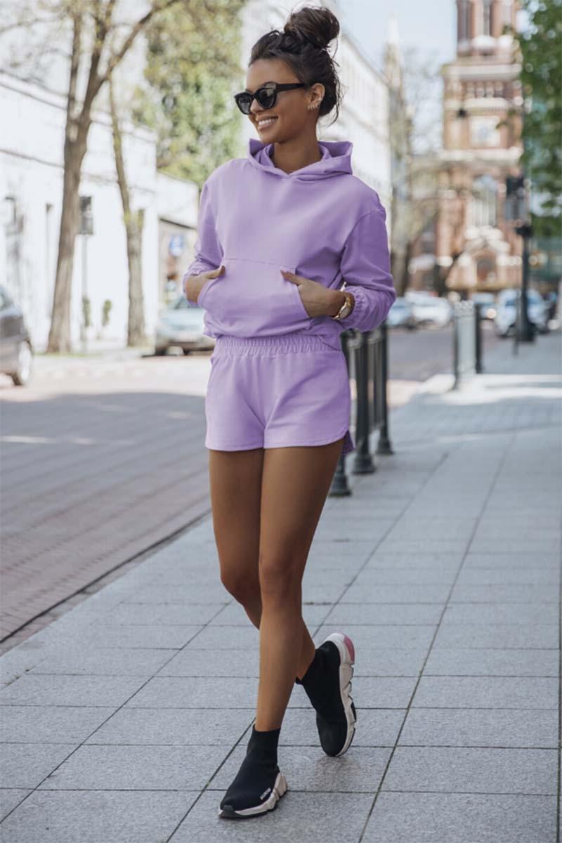 komplet dresowy bluza kangurka + szorty - liliowy
