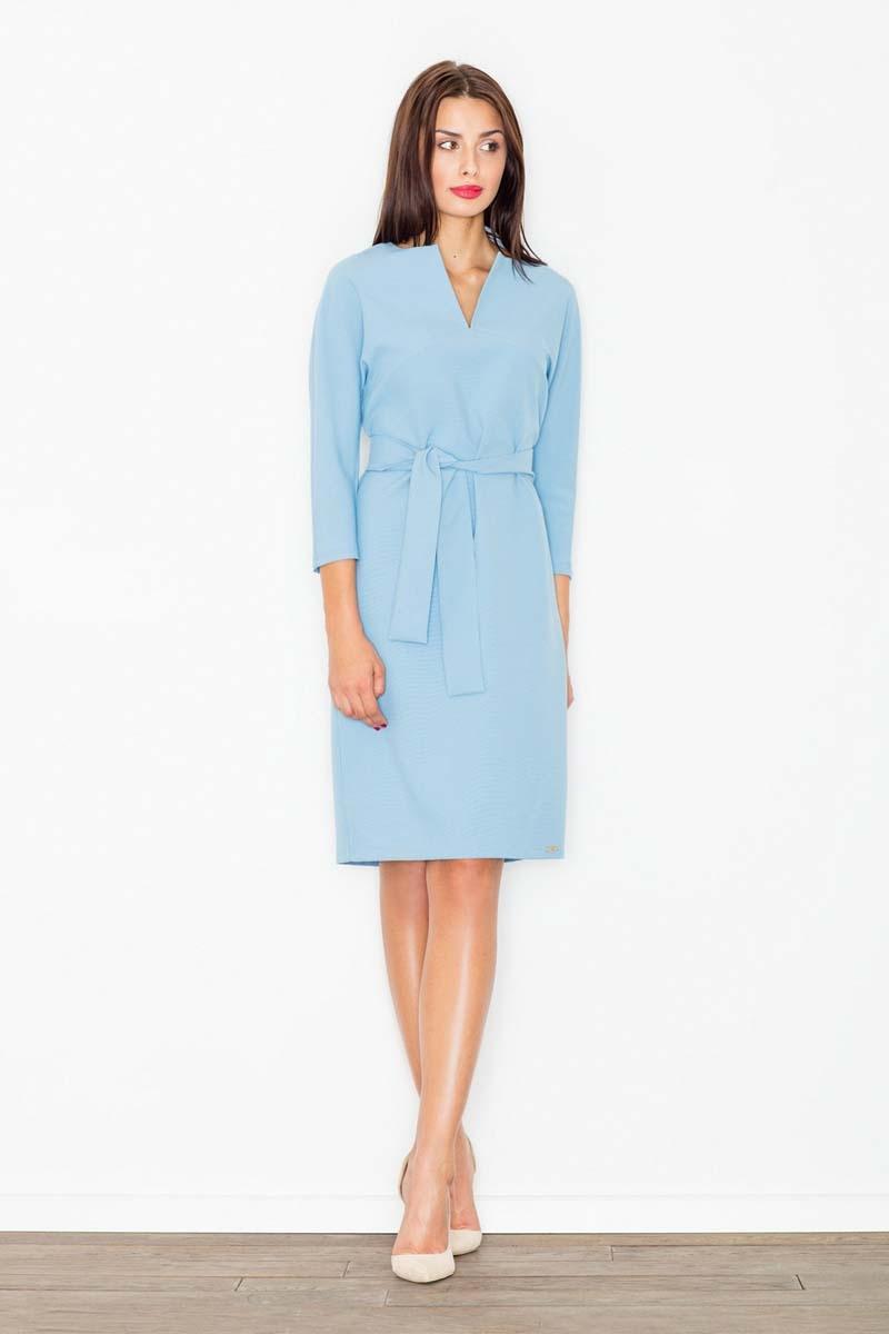 Błękitna wizytowa sukienka z wiązanym paskiem