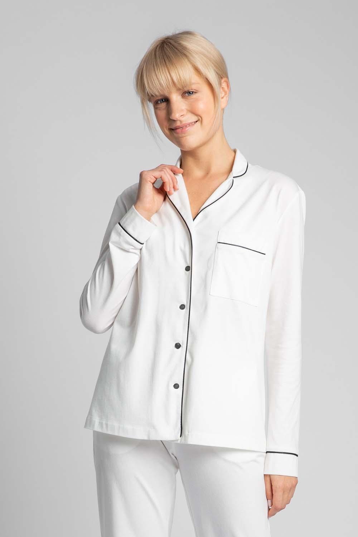 Image of Bawełniana koszula od piżamy z wypustkami - ecru
