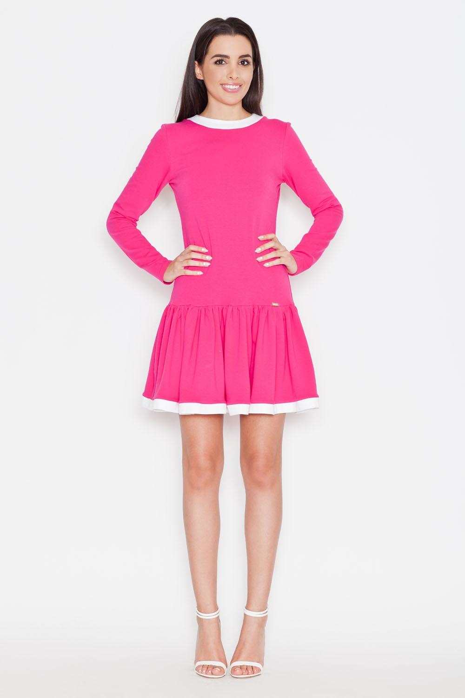 Image of Różowa codzienna sukienka z falbanką z długim rękawem