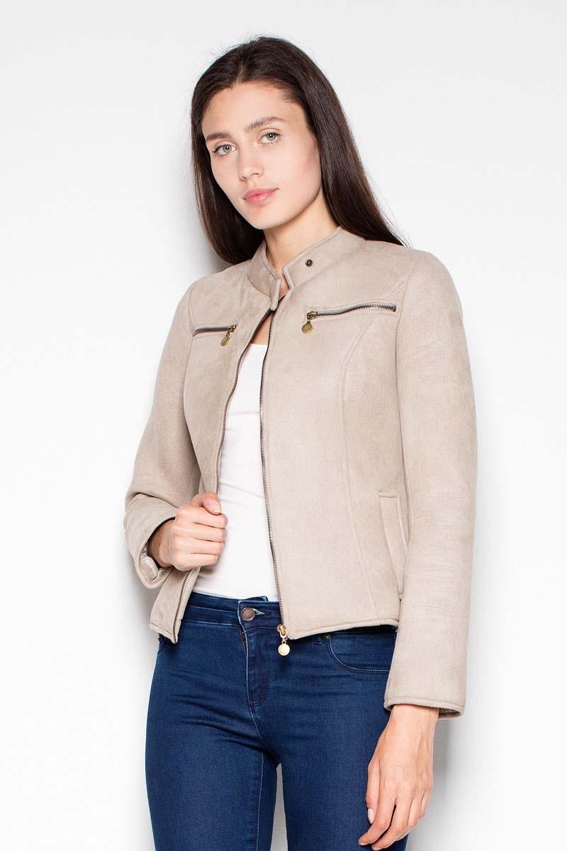 Image of Beżowa krótka kurtka damska z niską stójką