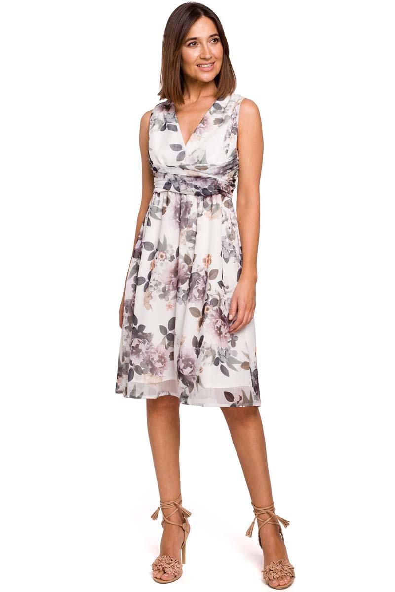 Sukienka w kwiaty z podkreśloną talią - model 1
