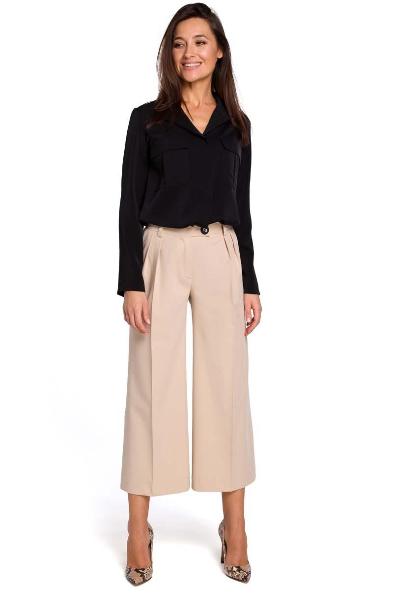Image of Beżowe eleganckie spodnie kuloty w kant