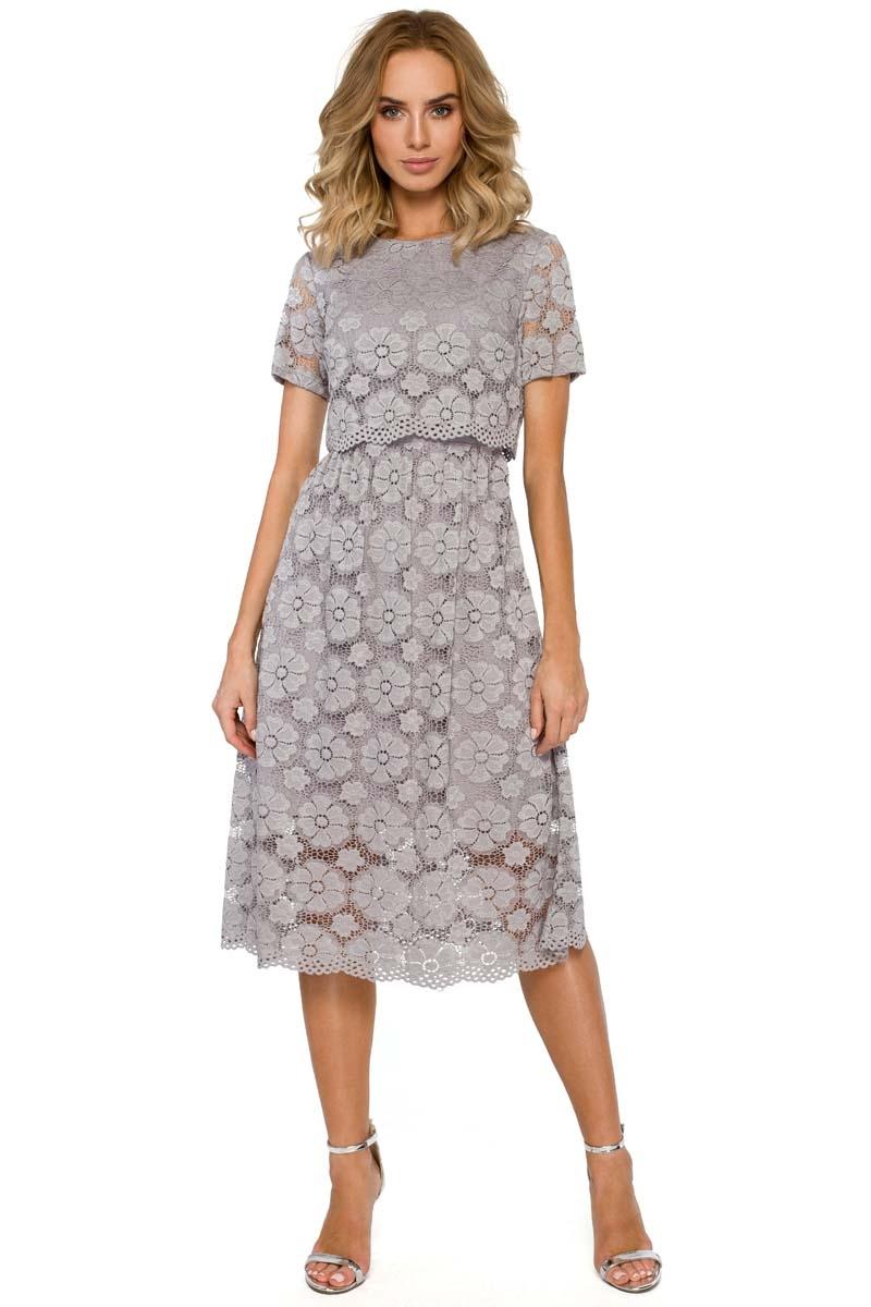 Szara koronkowa rozkloszowana midi sukienka z krótkim rękawem