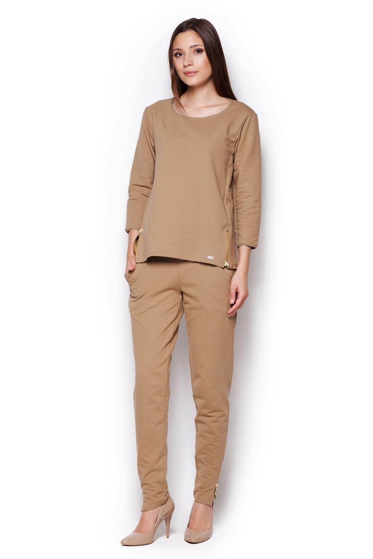 Beżowa komfortowa bluza z rękawem 3/4 ze złotymi suwakami
