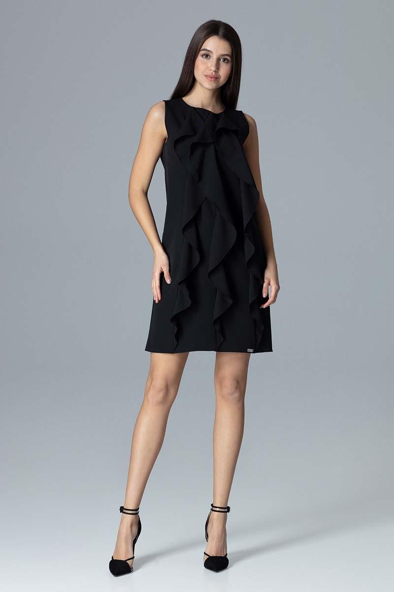 Czarna wyjściowa sukienka trapezowa z pionowymi falbankami