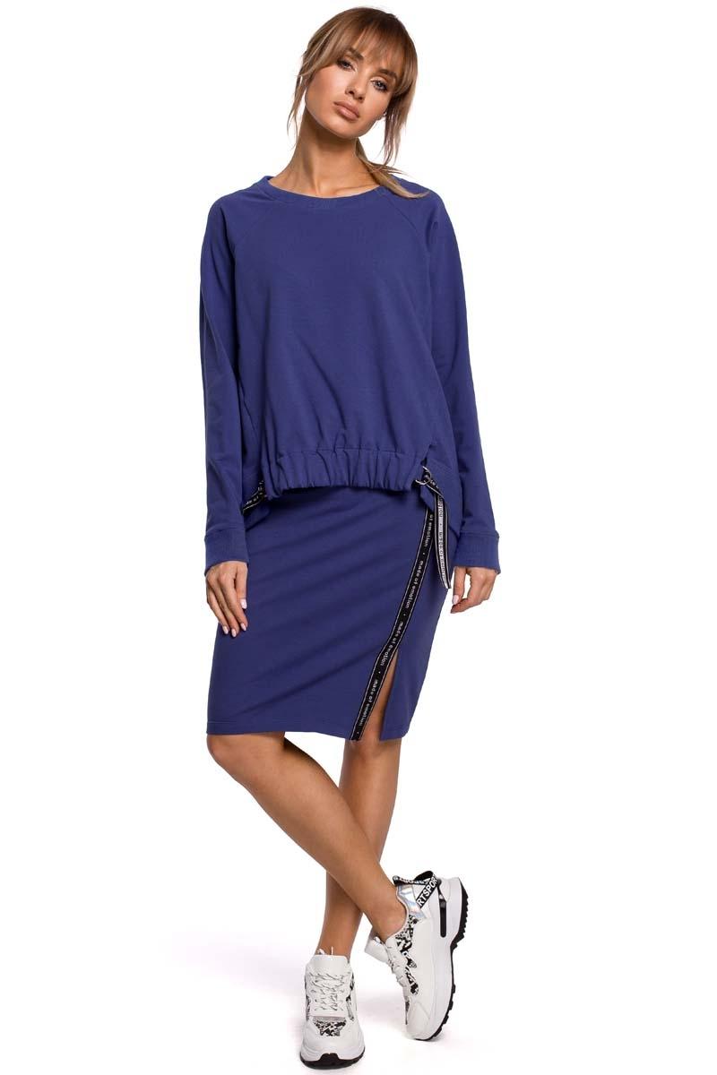 Asymetryczna bluza z lampasami - indygo