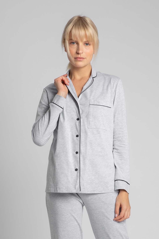 Image of Bawełniana koszula od piżamy z wypustkami - popielata