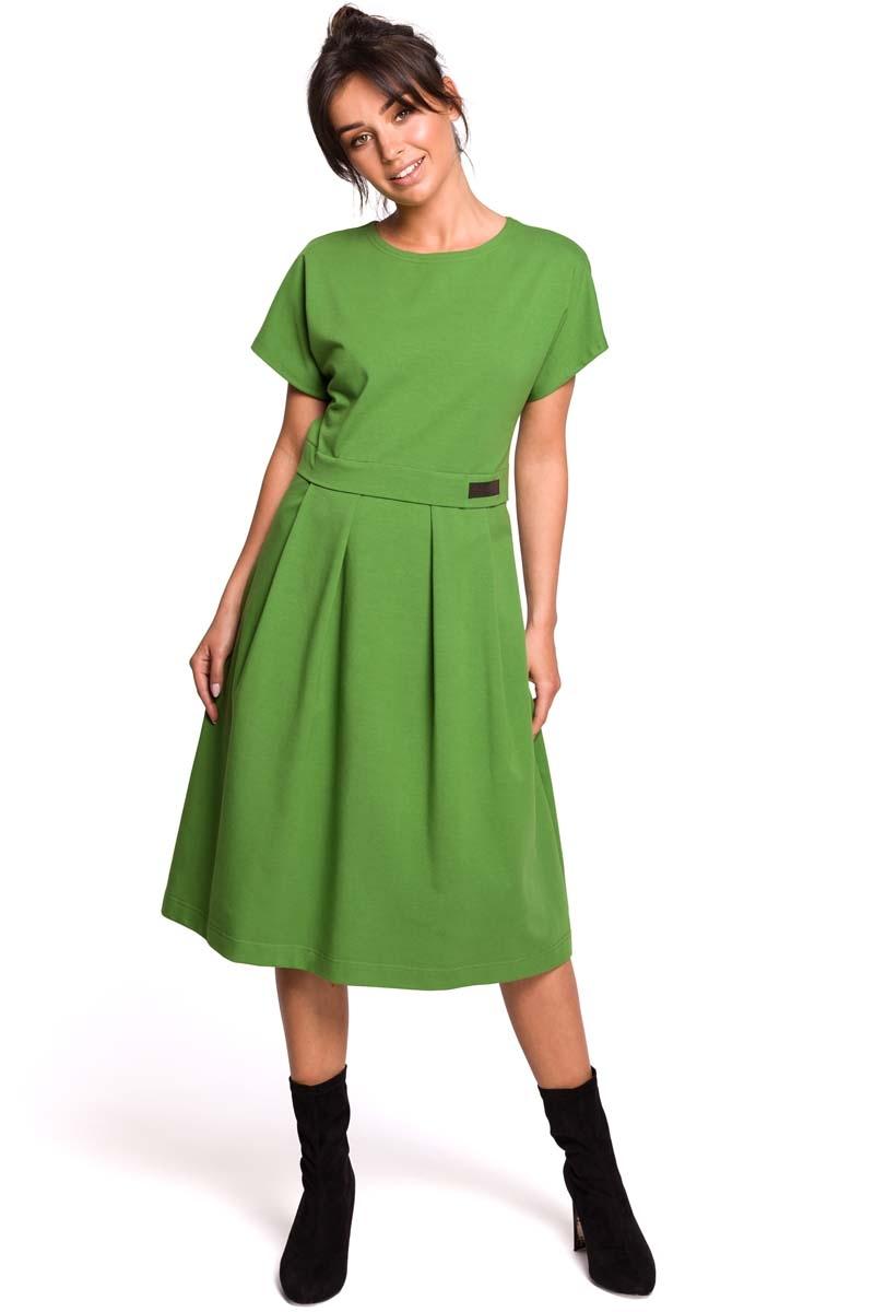 Limonkowa rozkloszowana sukienka dzianinowa