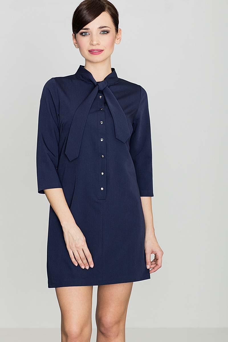 Uniwersalna granatowa koszulowa sukienka z wiązaną pod szyją szarfą