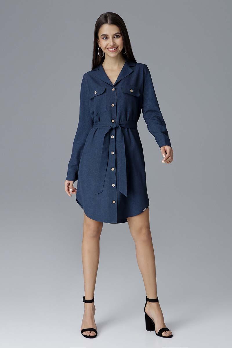 Granatowa koszulowa sukienka z wiązanym paskiem