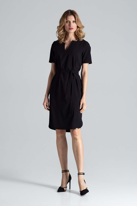 Czarna letnia sukienka we wzory z dekoltem v