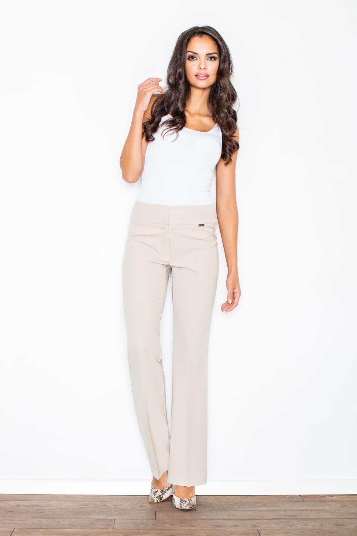 Image of Beżowe eleganckie spodnie z szerokimi nogawkami