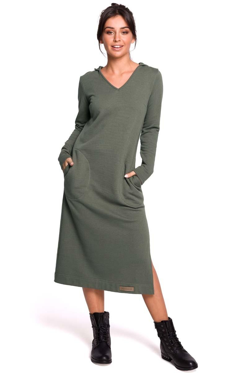 Khaki długa prosta sukienka dzianinowa z kapturem