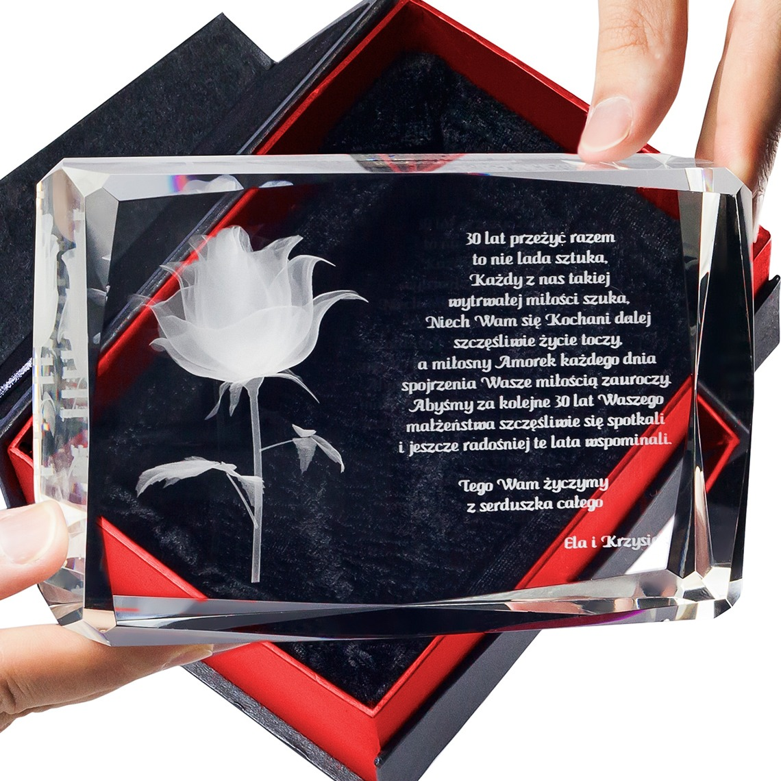 Róża 3d kwiat miłości ♥ personalizowana statuetka 3d duża • grawer 3d