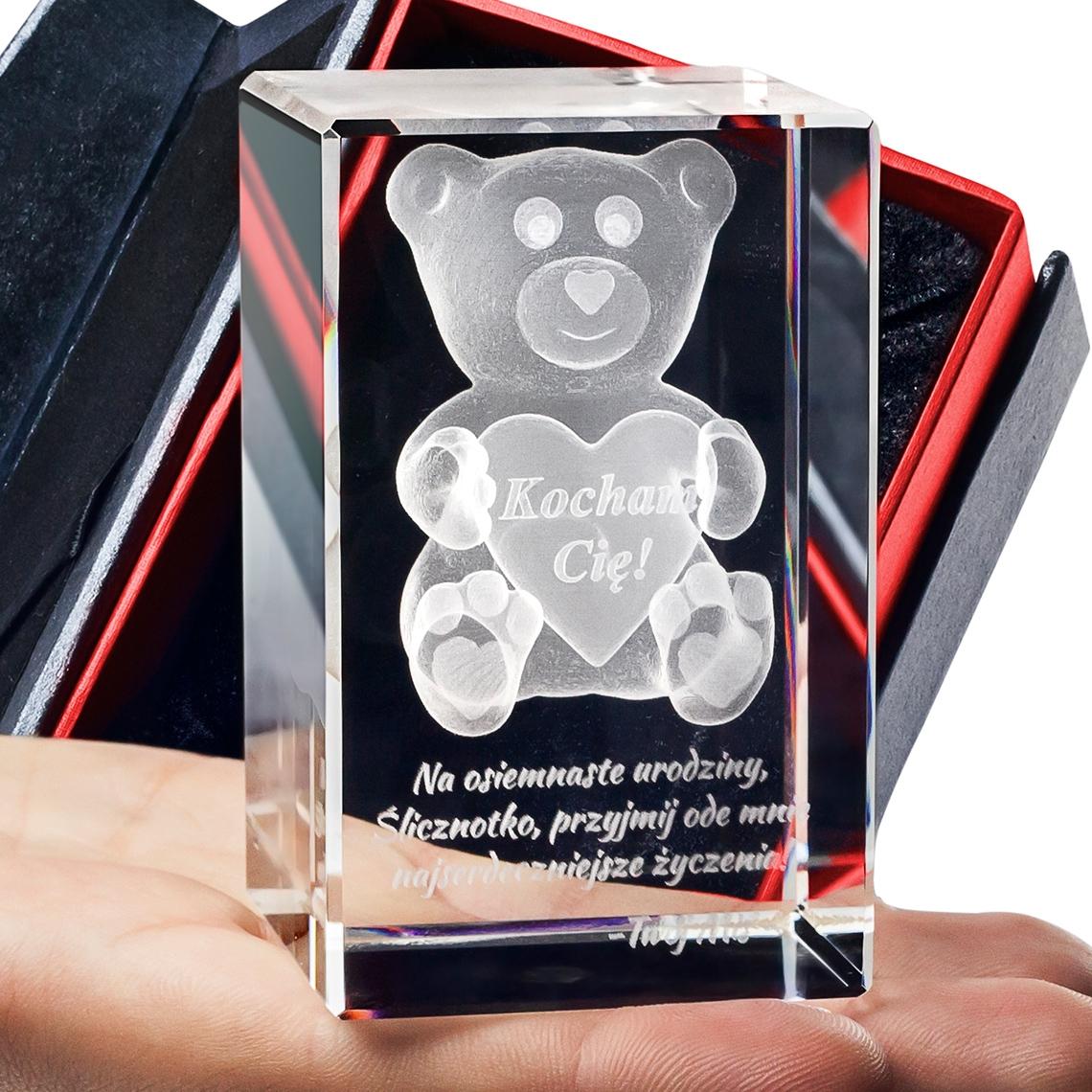 Image of Pluszowy miś 3d • personalizowany kryształ 3d • grawer 3d