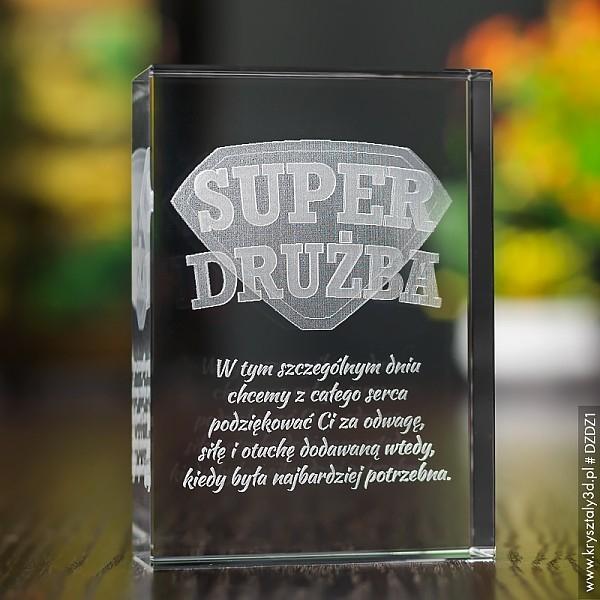Image of Odznaka 3d »super drużba« • personalizowany kryształ 3d • grawer 3d