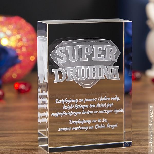 Image of Odznaka 3d »super druhna« • personalizowany kryształ 3d • grawer 3d