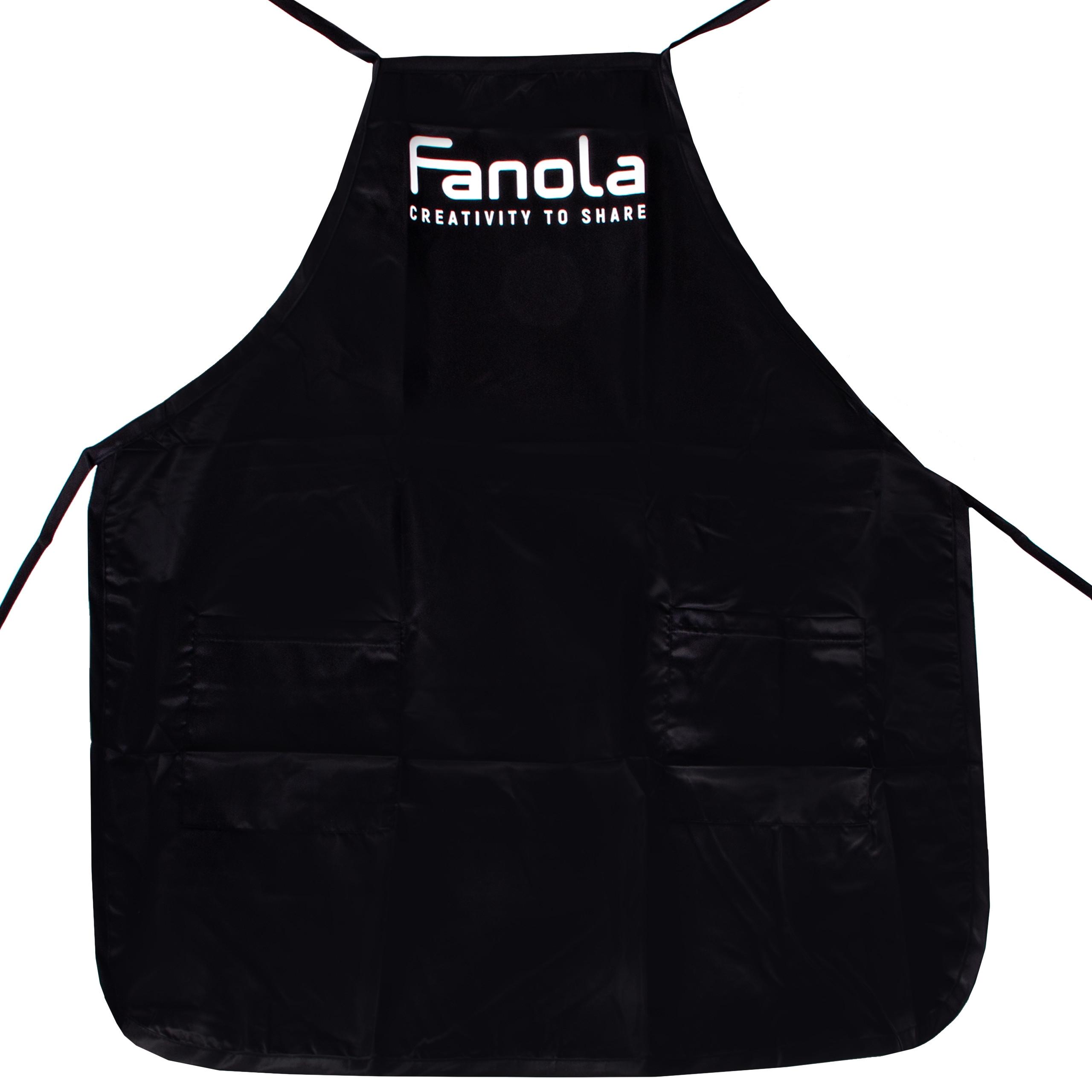 Image of Fanola fartuch fryzjerski - profesjonalny czarny fartuch z dwiema kieszonkami