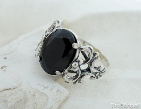 Image of Abertis - srebrny pierścień z onyksem