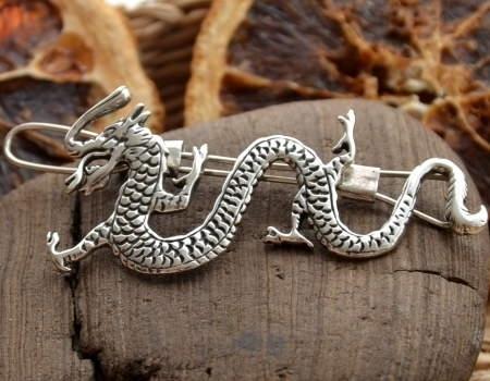 Image of Deanerys - smocza srebrna spinka do włosów