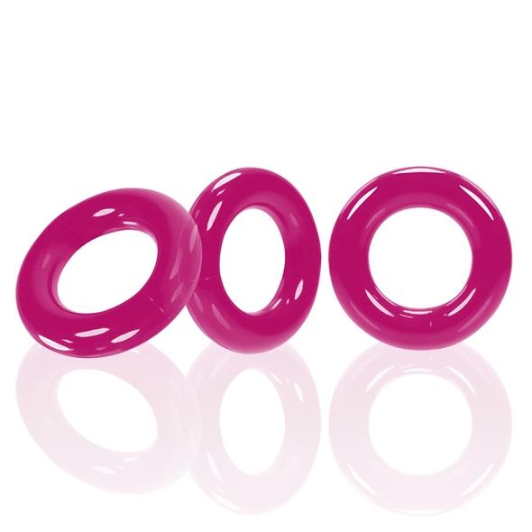 Zestaw 3 pierścienie na penisa - oxballs willy rings 3-pack   różowy