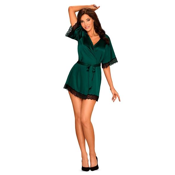 Seksowny szlafrok - obsessive sensuelia robe s/m zielony
