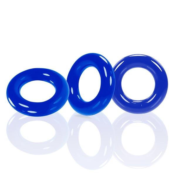 Zestaw 3 pierścienie na penisa - oxballs willy rings 3-pack   niebieski