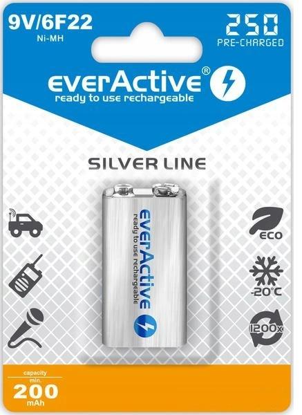 """Image of Akumulatorek everactive 6f22/9v ni-mh 250 mah ready to use """"silver line"""" - możliwość montażu - zadzwoń: 34 333 57 04 - 37 sklepów w całej polsce"""