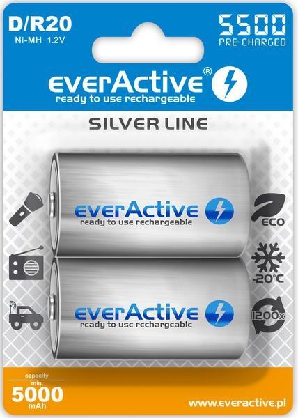 """Image of Akumulatorki d / r20 everactive ni-mh ni-mh 5500 mah ready to use """"silver line"""" (box 2 szt) - możliwość montażu - zadzwoń: 34 333 57 04 - 37 sklepów w całej polsce"""