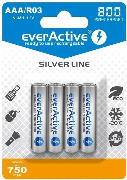 """Image of Akumulatorki aaa / r03 everactive ni-mh ni-mh 800 mah ready to use """"silver line"""" (box 4szt) - możliwość montażu - zadzwoń: 34 333 57 04 - 37 sklepów w całej polsce"""