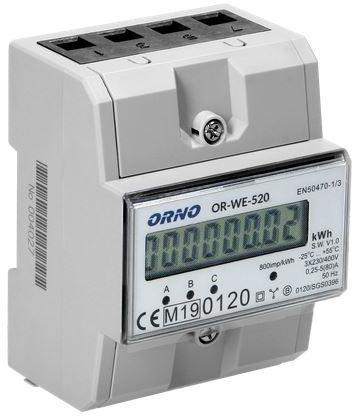 Image of Or-we-520 orno 3-fazowy licznik energii elektrycznej, 80a, mid, 3 moduły, din th-35mm - możliwość montażu - zadzwoń: 34 333 57 04 - 37 sklepów w całej polsce
