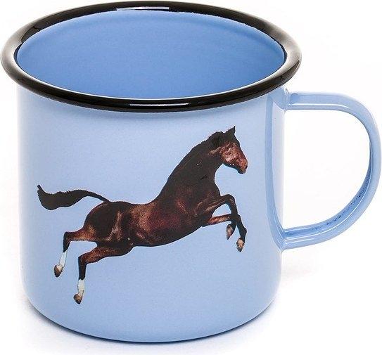 Kubek seletti wears toiletpaper emaliowany horse