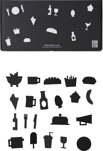 Image of Ikony food do tablicy design letters 21 szt. czarne