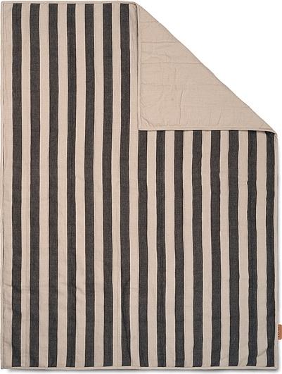 Image of Koc piknikowy grand w paski 120 x 170 cm czarno-beżowy