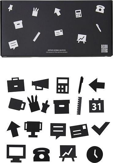Image of Ikony office do tablicy design letters 20 szt. czarne