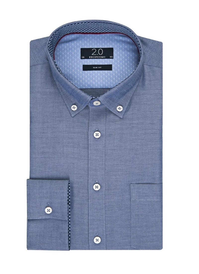 Image of Elegancka niebieska koszula męska profuomo z kontrastowymi wstawkami 37