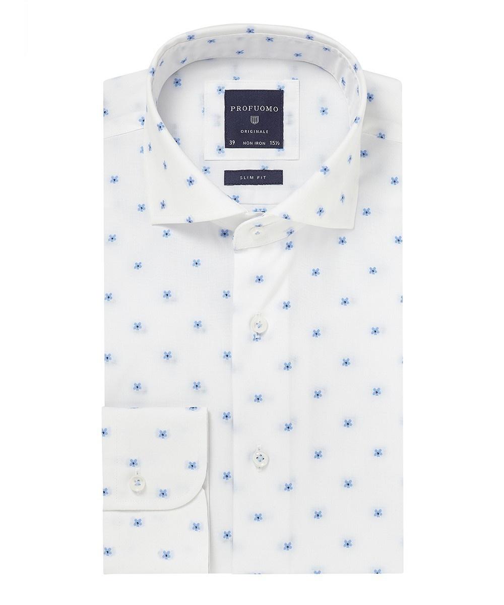 Image of Biała koszula profuomo typu oxford w kwiaty 37